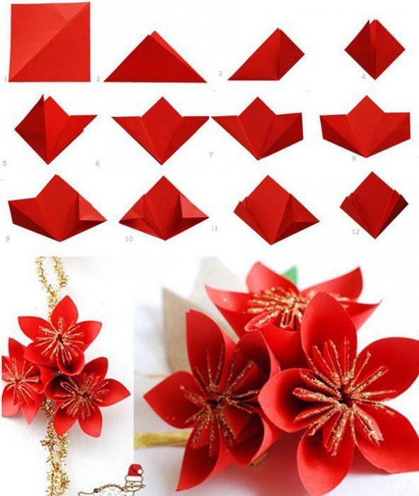 модульный цветок оригами к 8 марта