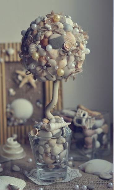 топиарий из ракушек и камней