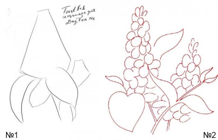 Как нарисовать куст сирени поэтапно