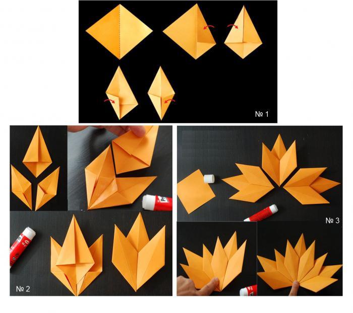 оригами осенние листья из бумаги