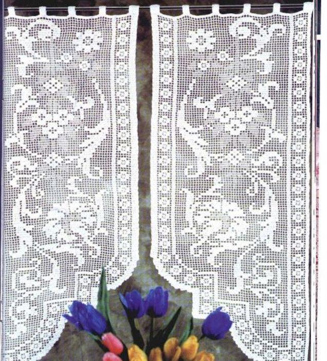 филейное вязание крючком занавески