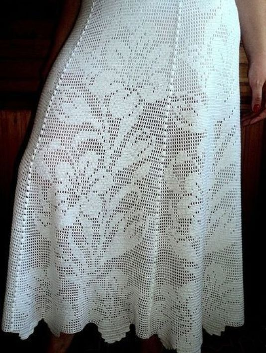 филейное вязание крючком юбка