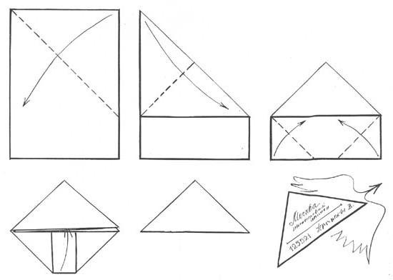 военное письмо треугольником как сложить