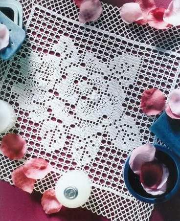 вязание крючком схемы салфеток квадратных