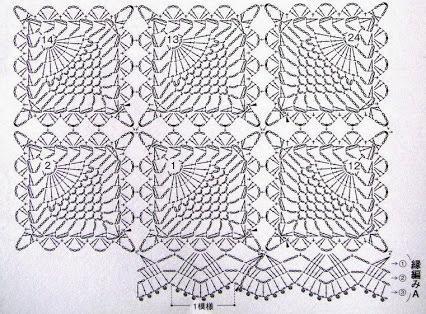 квадратная салфетка крючком со схемами