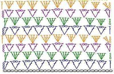 узоры крючком для шарфа схемы