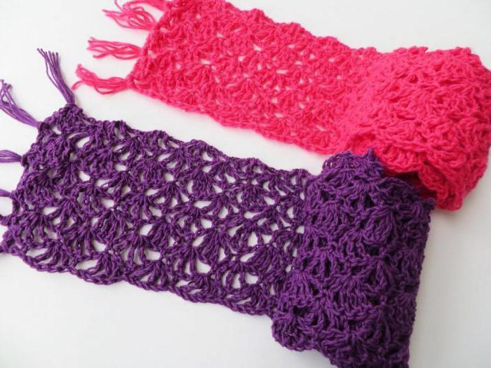 ажурные узоры крючком для шарфа