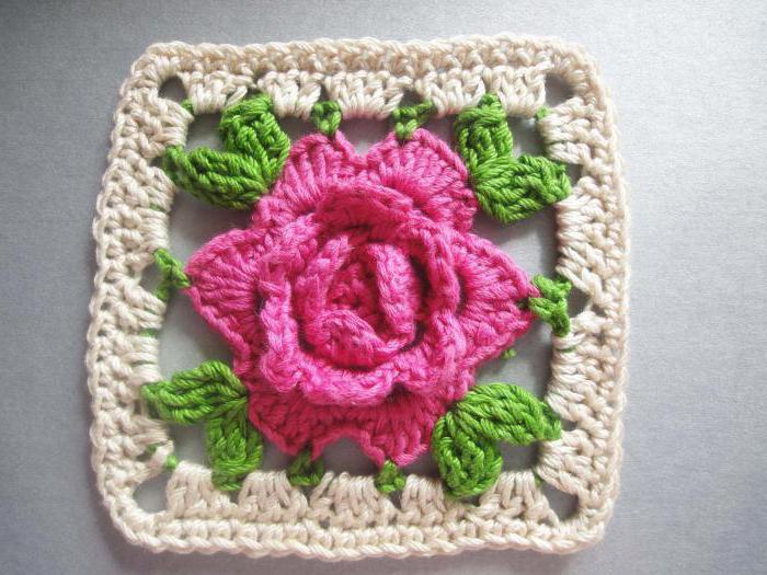 схема вязания крючком цветок роза