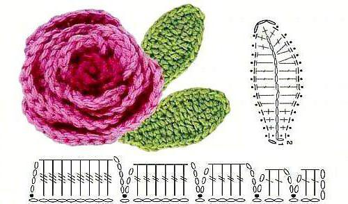 вязание роз крючком со схемами