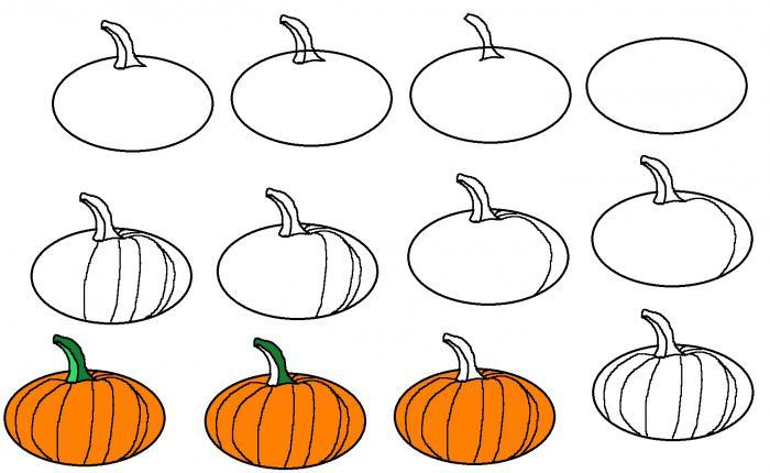 как нарисовать тыкву карандашом