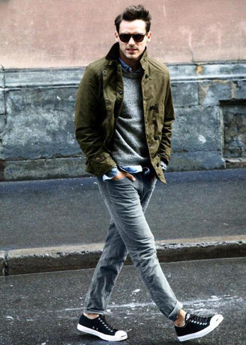 джинсы с высокими кедами