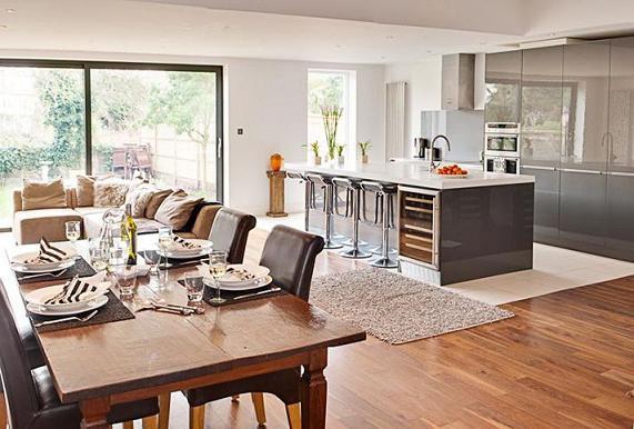 Планировка и дизайн интерьера кухни в частном доме