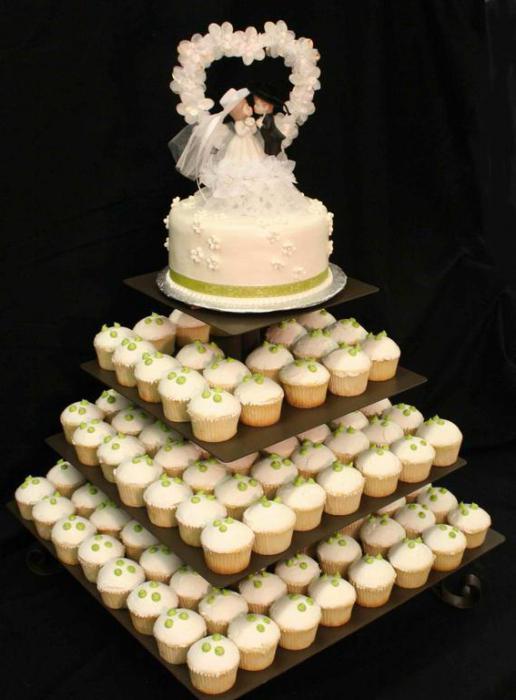 Прекрасный и роскошный свадебный тортик с капкейками