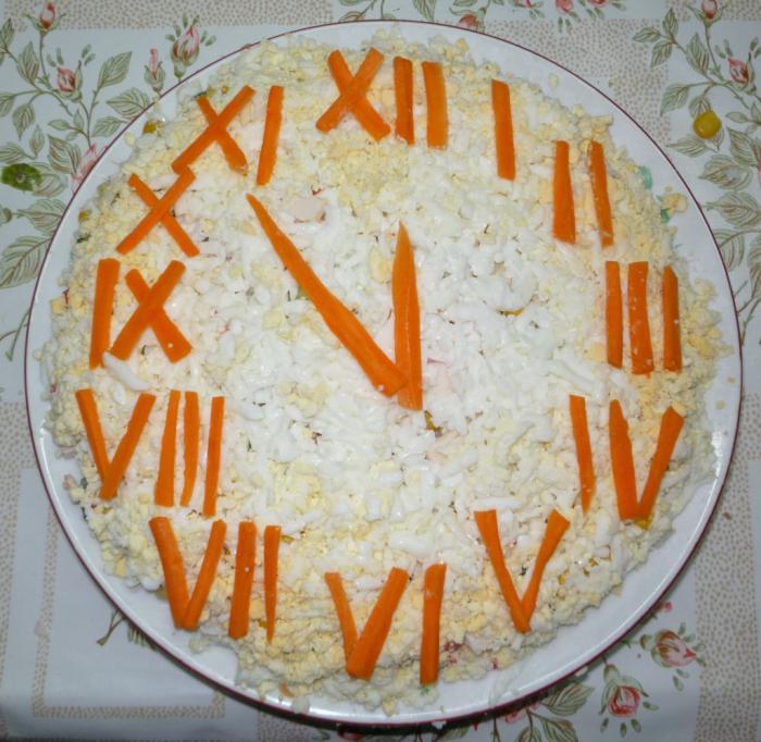 салат новогодние часы рецепт с фото посмотрели топ