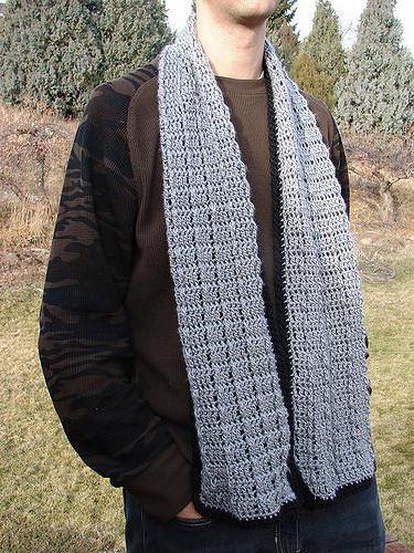 мужской шарф крючком для начинающих