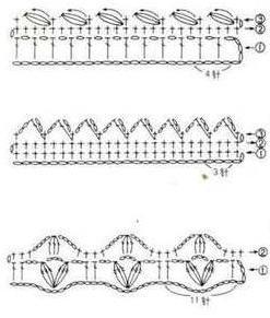 примеры схем для обвязки края крючком