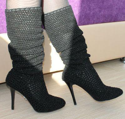 красивая вязаная обувь