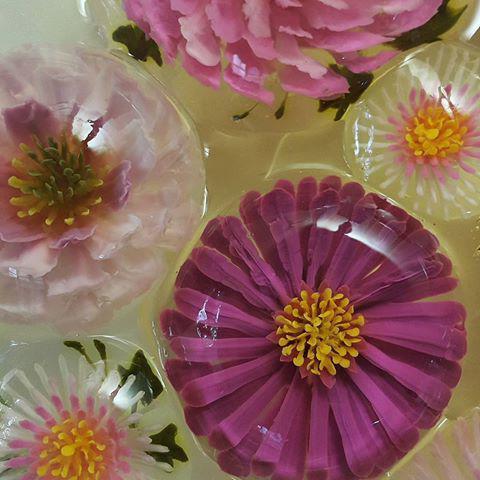 желе с цветами внутри