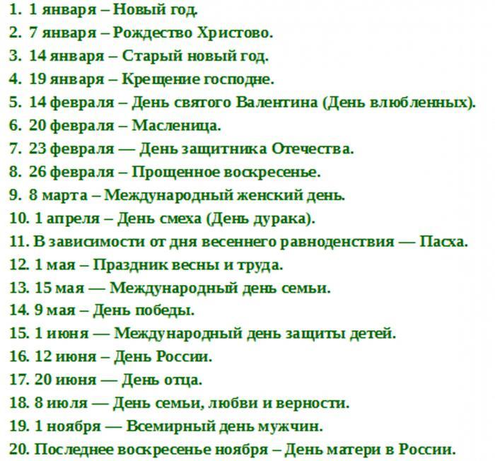 Общероссийские праздники россии список