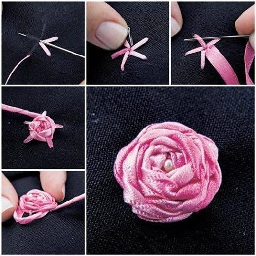 вышивание лентами для начинающих мастер класс розы