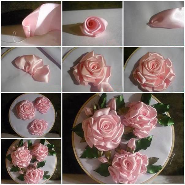 вышивка лентами розы пошагово