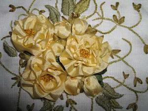 вышивка лентами розы мастер класс для начинающих