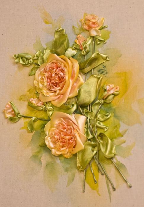 вышивка лентами букет роз