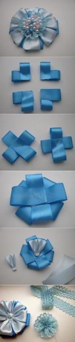 do-it-yourself flowers from satin ribbons or double, with a hole or curls. And also can consist of tapes of different colors. You can also create a flower from a narrow satin ribbon with your own hands. The master class of this petal is somewhat different from all the others. But this does not mean that such a petal is not beautiful enough. It has its undeniable advantages. </ p> Sharp petals <p> A flower made of satin ribbon (master class), the photo of which can be seen in this section, consists of sharp petals. To make such a petal, you need to take a small square from a satin ribbon and fold it in half diagonally. The triangle, which turned out as a result of these manipulations, you need to fold in half and once again in half. The resulting petal should be trimmed. On how you cut it, will depend on the height of the petal, and hence the model of the flower as a whole. After trimming the edges, you can sing and solder only the tips. Then the petal will be with a hole. And if the edges are soldered completely, then without a hole. Sharp petals can be successfully combined with round ones. </ p> Round petals <p> The flowers created from round petals look very volumetric and at the same time quite gently and elegantly. It is especially important to choose the right color and pay attention to the quality of the material from which the flowers will be made. To create round petals for flowers, you need to take the same square as in the previous version, and fold it in the same diagonal. Then you should bend the side corners to the bottom and solder them together (or fasten with thread). After these manipulations, the workpiece should be turned over and fold the side corners to the middle. Secure them together with a glue gun. Now fold the workpiece in half, slightly cut off the tip and sealed with a candle. Round petals, as well as sharp, can be of two colors. In addition, they are miraculously combined with any other species. </ p> Flowers from satin ribbons with their own hands. Step by step <p> Take to start a tape about four centimeters wide. The easiest option is to cut five pieces of seven and a half centimeters and five pieces of nine centimeters. <img alt =