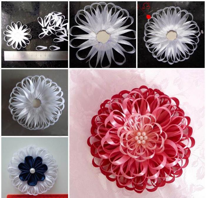 Цветы своими руками из тонких ленточек 37