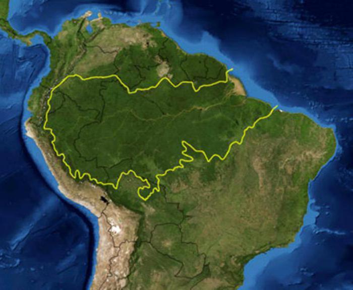 амазонская низменность на карте