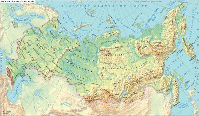 карта географическое положение россии