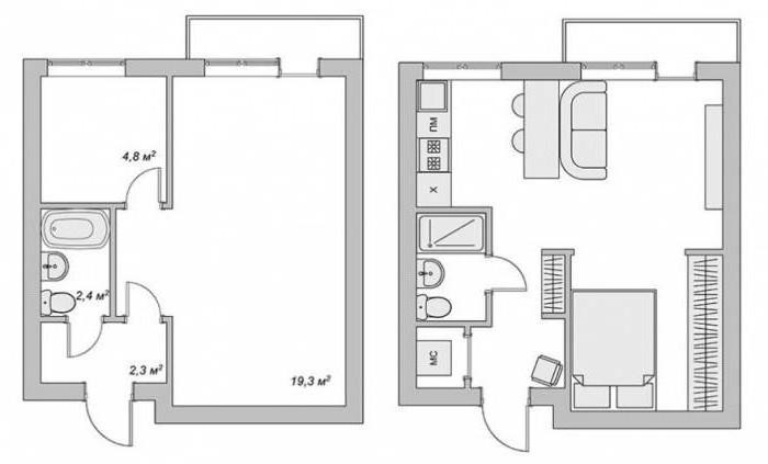планировка 2 х комнатных квартир