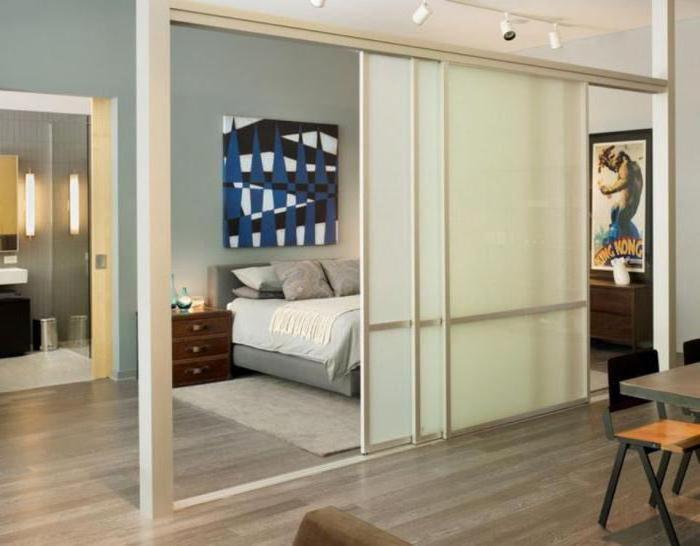 зонирование комнаты с помощью перегородки из гипсокартона