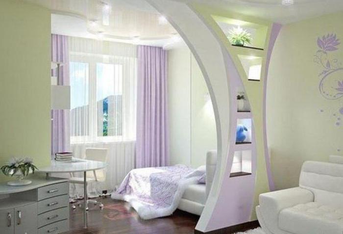 зонирование комнаты с помощью перегородки реальные фото