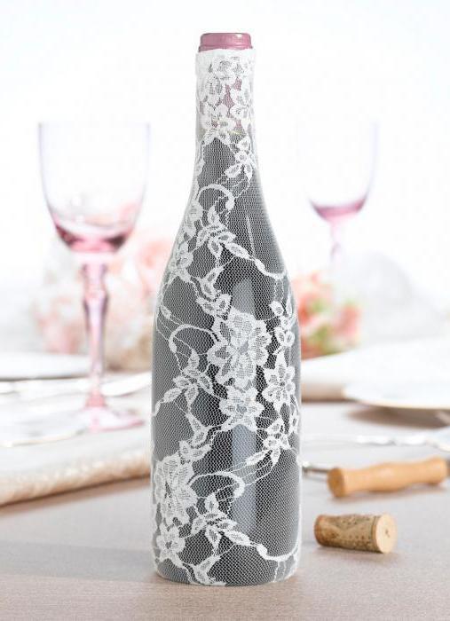 украшение бутылок на свадьбу