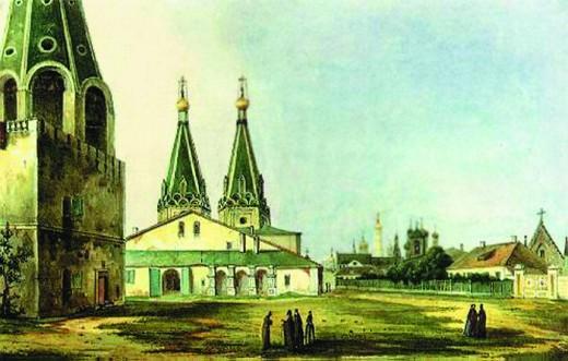 Alekseevsky monastery. 19th century watercolor