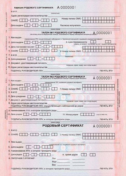 родовый сертификат что это