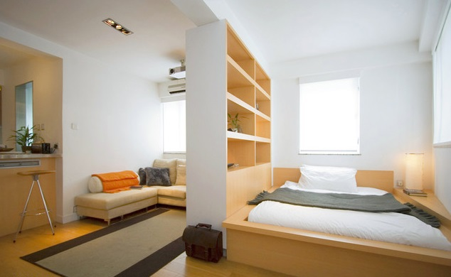 The interior of the bedroom-living room