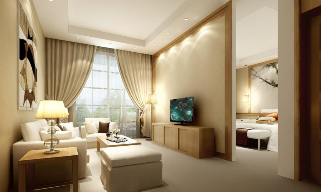 The interior of the square living room-bedroom