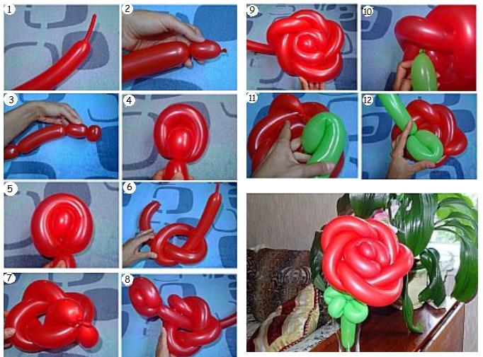 Цветок из воздушных шариков: подготовка материалов, порядок выполнения