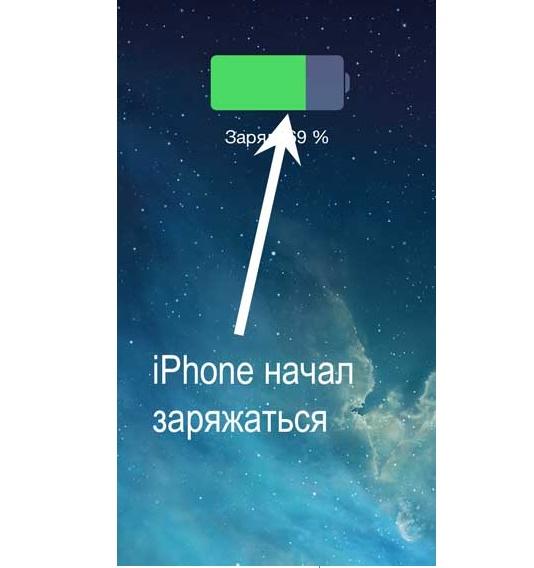 как понять что айфон зарядился