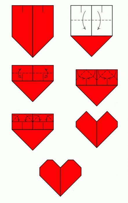 модульное оригами валентинки