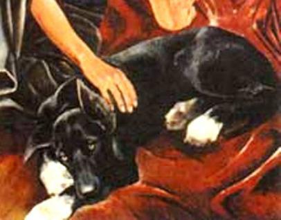 Мальчик и собака находятся на полу: или на подстилке собаки, или на специально расстеленном для них