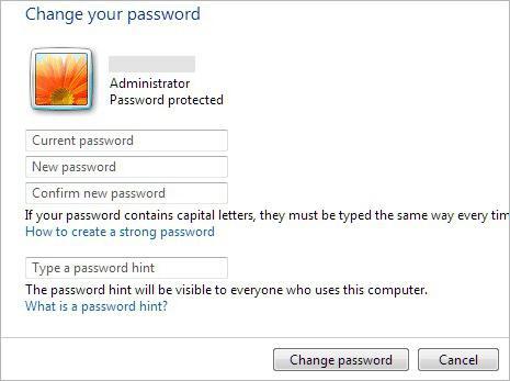 сменить пароль пользователя windows 7