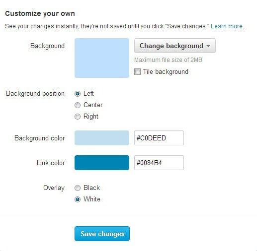 Как поменять цвет в твиттере