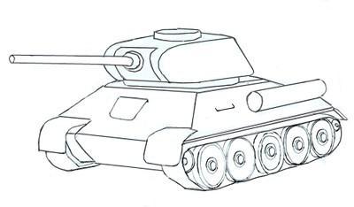 танк т 34 как нарисовать военную технику карандашом поэтапно