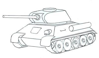 танк т 34 как рисовать военную технику карандашом поэтапно