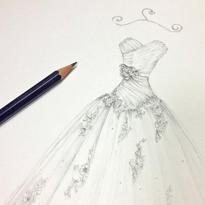 как нарисовать платье карандашом