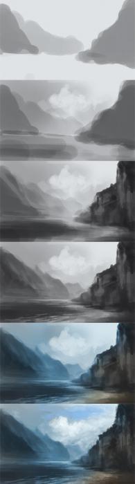 как нарисовать пейзаж красками поэтапно для начинающих гуашью
