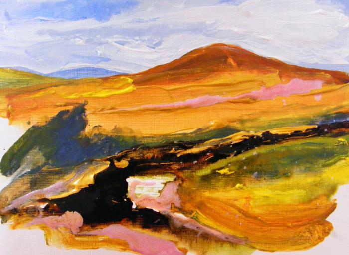 как нарисовать пейзаж красками поэтапно для начинающих горы